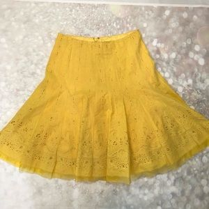 Elie Tahari Cut Out Embroidered Yellow Skirt 4